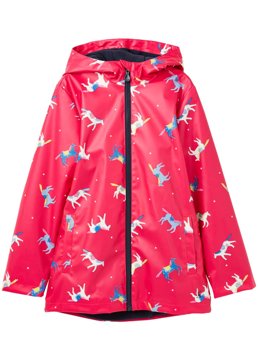 Joules Girl's Rain Dance Horse-Print Raincoat, Size 2-6
