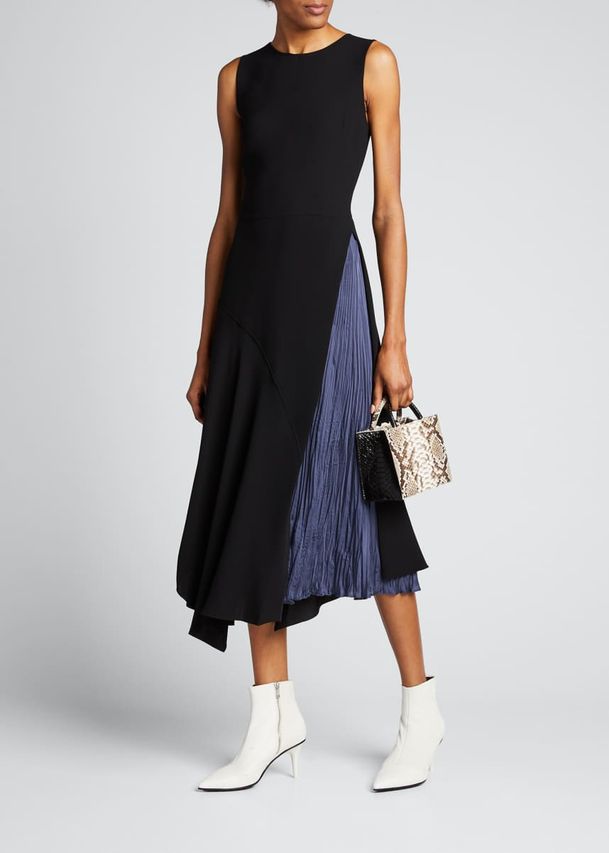 Vince Mixed Panel Sleeveless Midi Dress