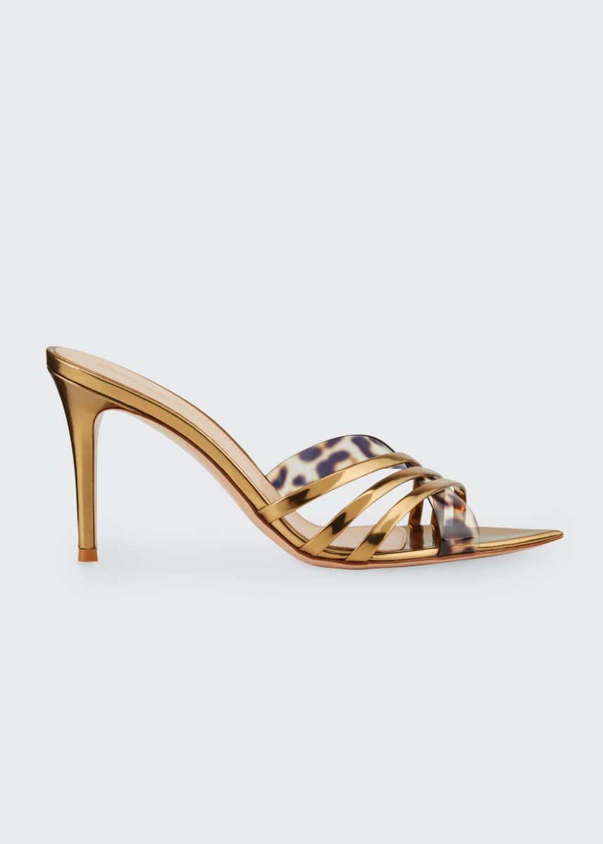 Gianvito Rossi Crisscross Metallic Slide Sandals