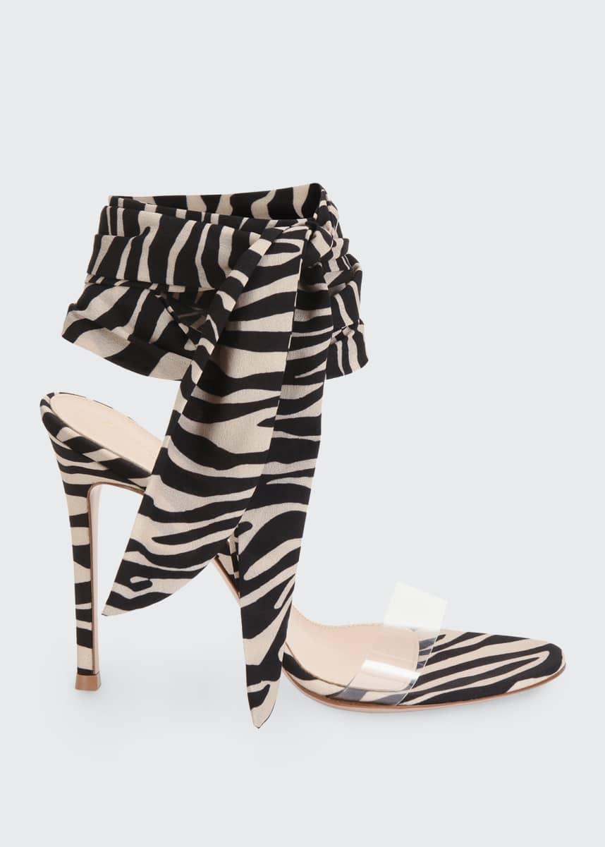 Gianvito Rossi Zebra Ankle-Wrap Sandals