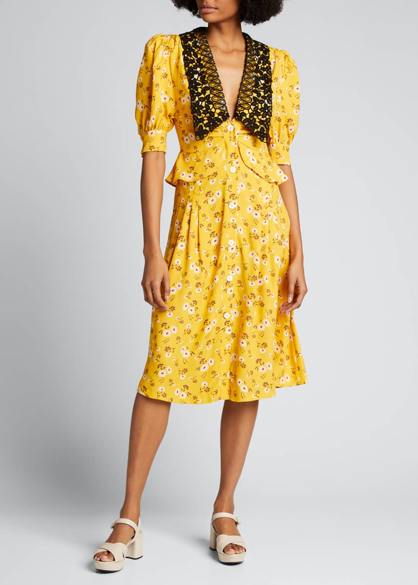 Miu Miu Daisy-Print Lace-Collar Dress