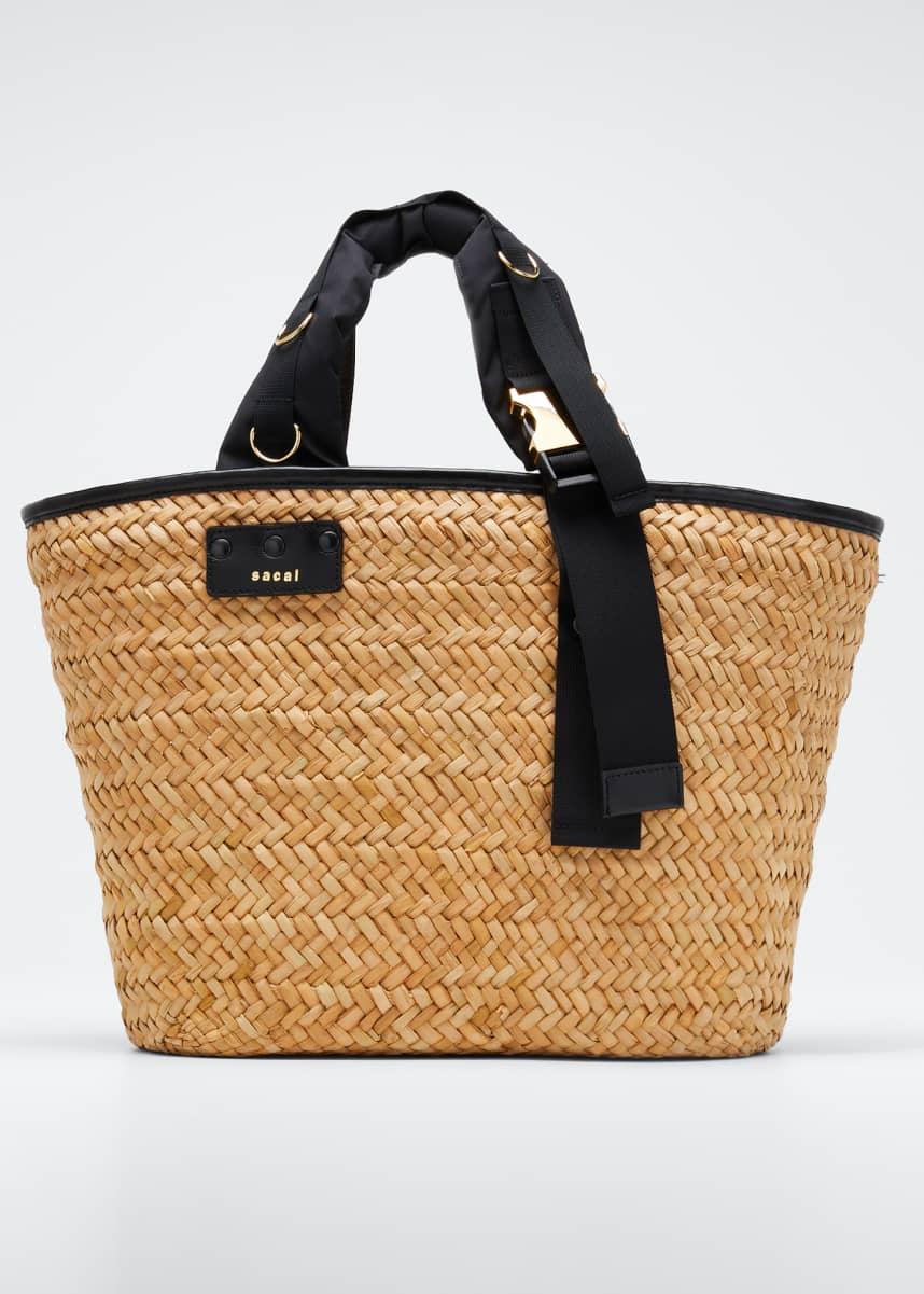 SACAI Hybrid Marche Large Woven Bucket Bag
