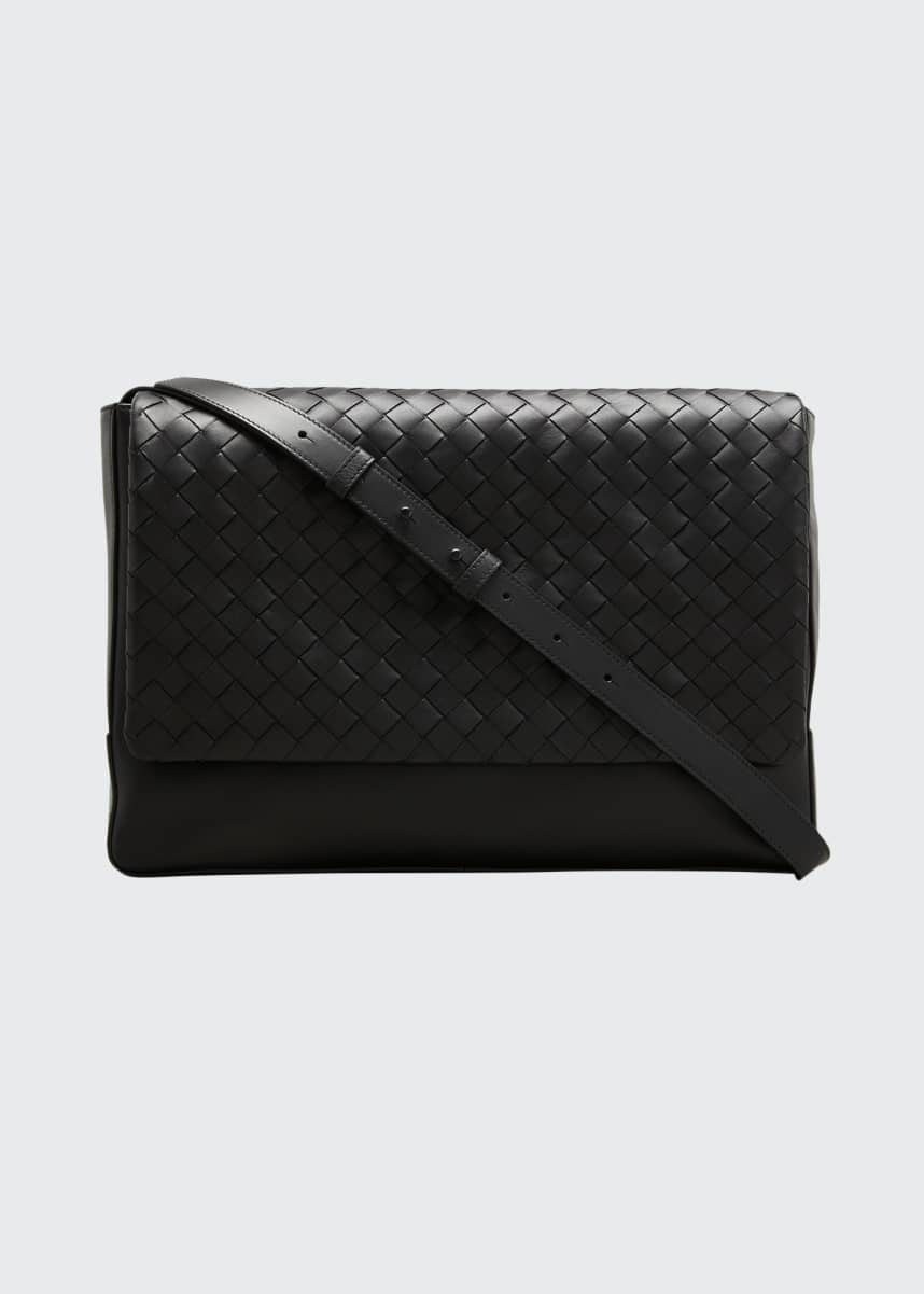 Bottega Veneta Men's Borsa Medium Woven Leather Crossbody Bag