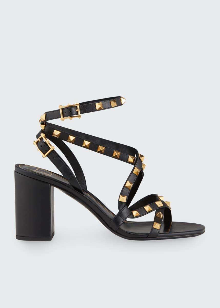 Valentino Garavani Rockstud Strappy Block-Heel Sandals
