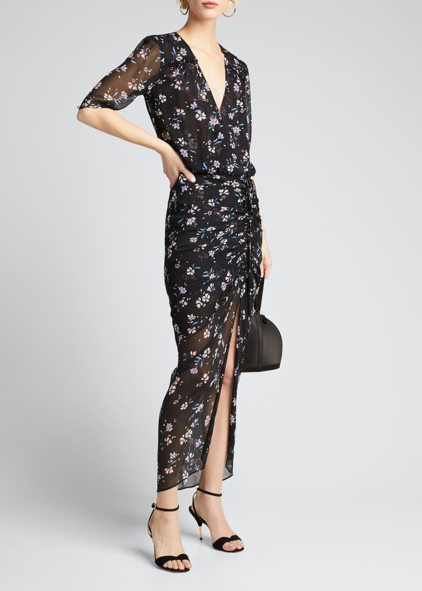 Veronica Beard Mariposa Floral-Print Ruched Dress