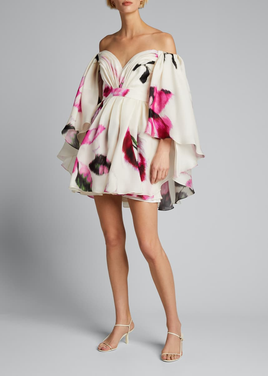 Carolina Herrera Silk Strapless Caped Mini Dress w/ Belt