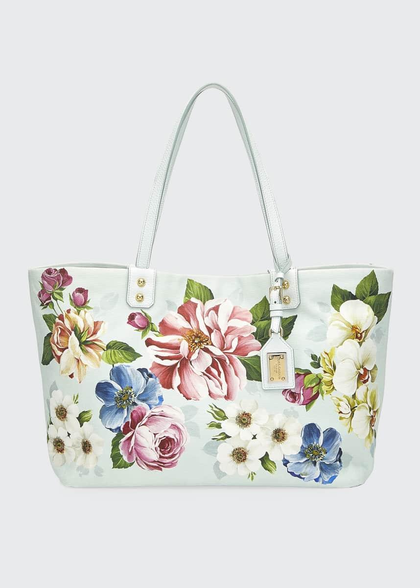 Dolce & Gabbana Beatrice Floral Canvas Shoulder Tote Bag