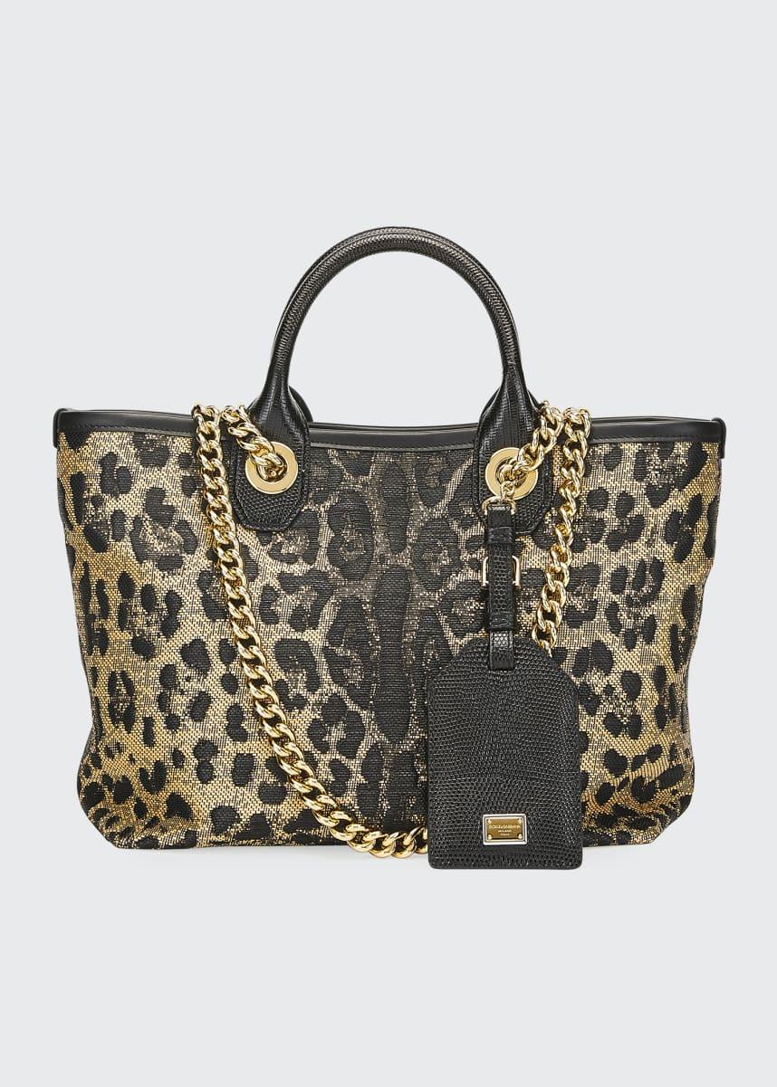 Dolce & Gabbana Capri Small Leopard Shopping Tote Bag