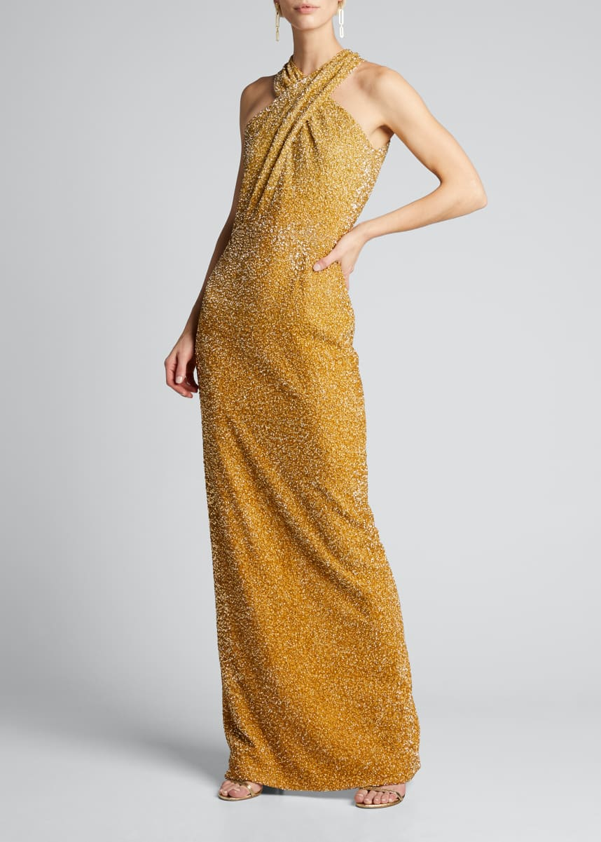 Pamella Roland Signature Sequin Halter-Neck Column Gown