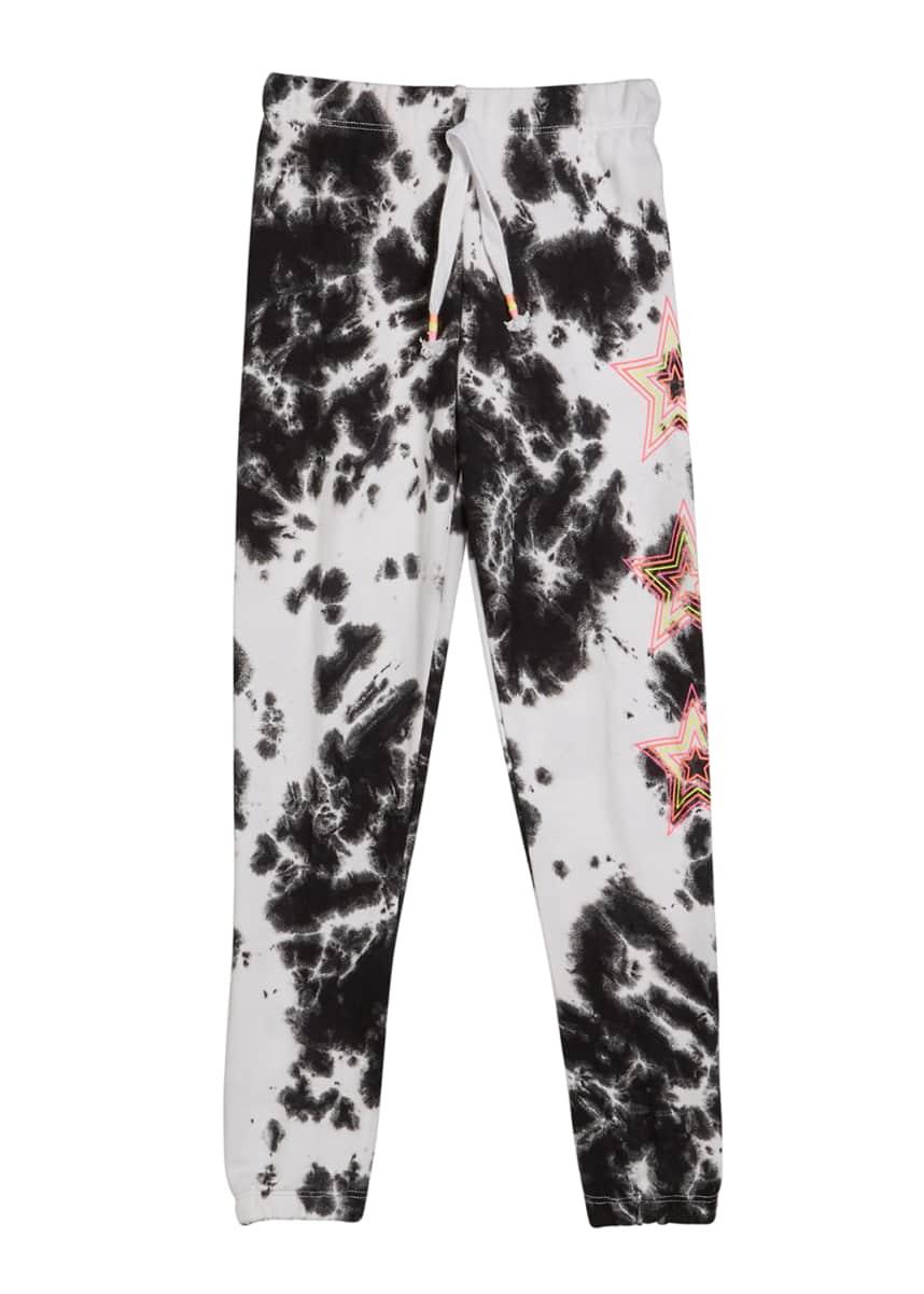 Flowers by Zoe Girl's Tie Dye Sweatpants w/ Neon Stars, Size S-XL