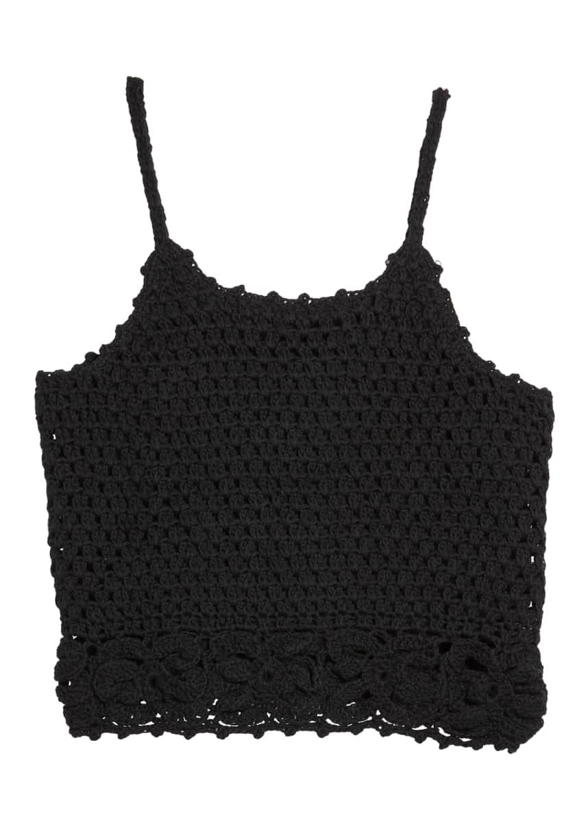 Flowers by Zoe Girl's Solid Crochet Tank Top, Size S-XL
