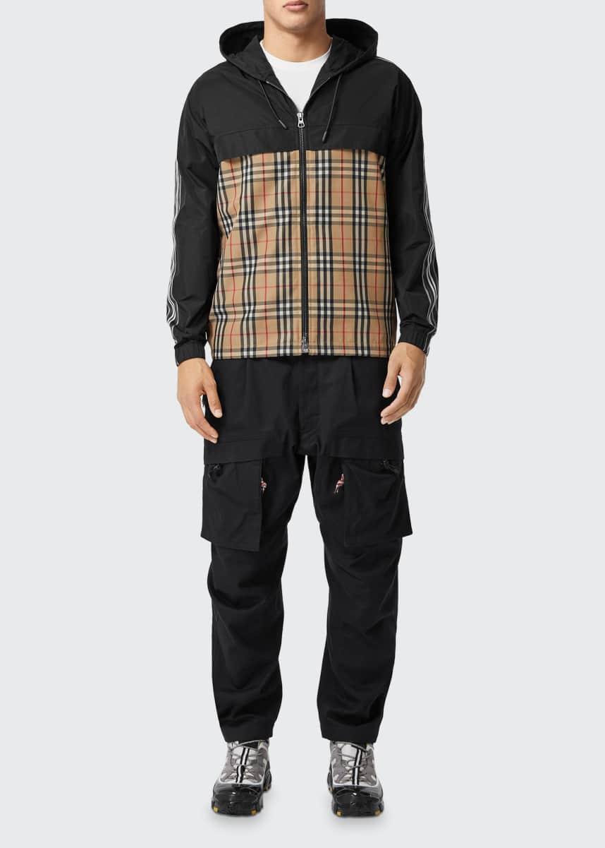 Burberry Men's Check & Memory Taffeta Hoodie Jacket