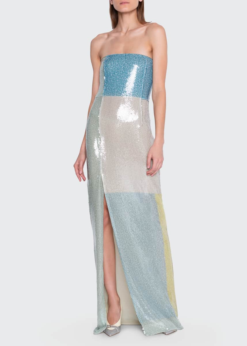 Akris Sequin-Colorblocked Strapless Gown