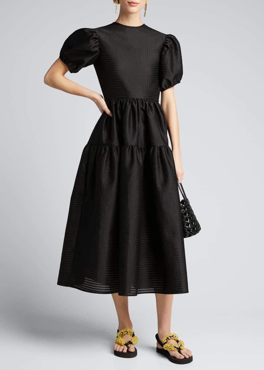 Cecilie Bahnsen Taffeta Bowed-Back Puff-Sleeve Gown