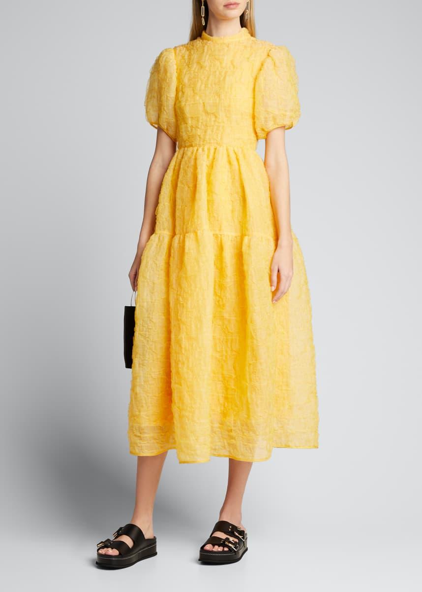 Cecilie Bahnsen Puff-Sleeve Bowed Dress
