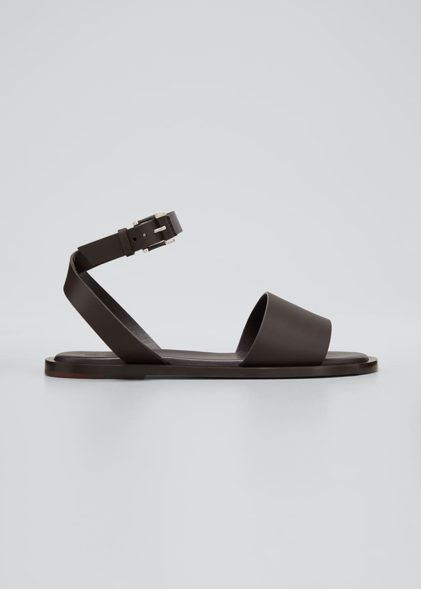 Loro Piana Leather Ankle Strap Flat Sandals