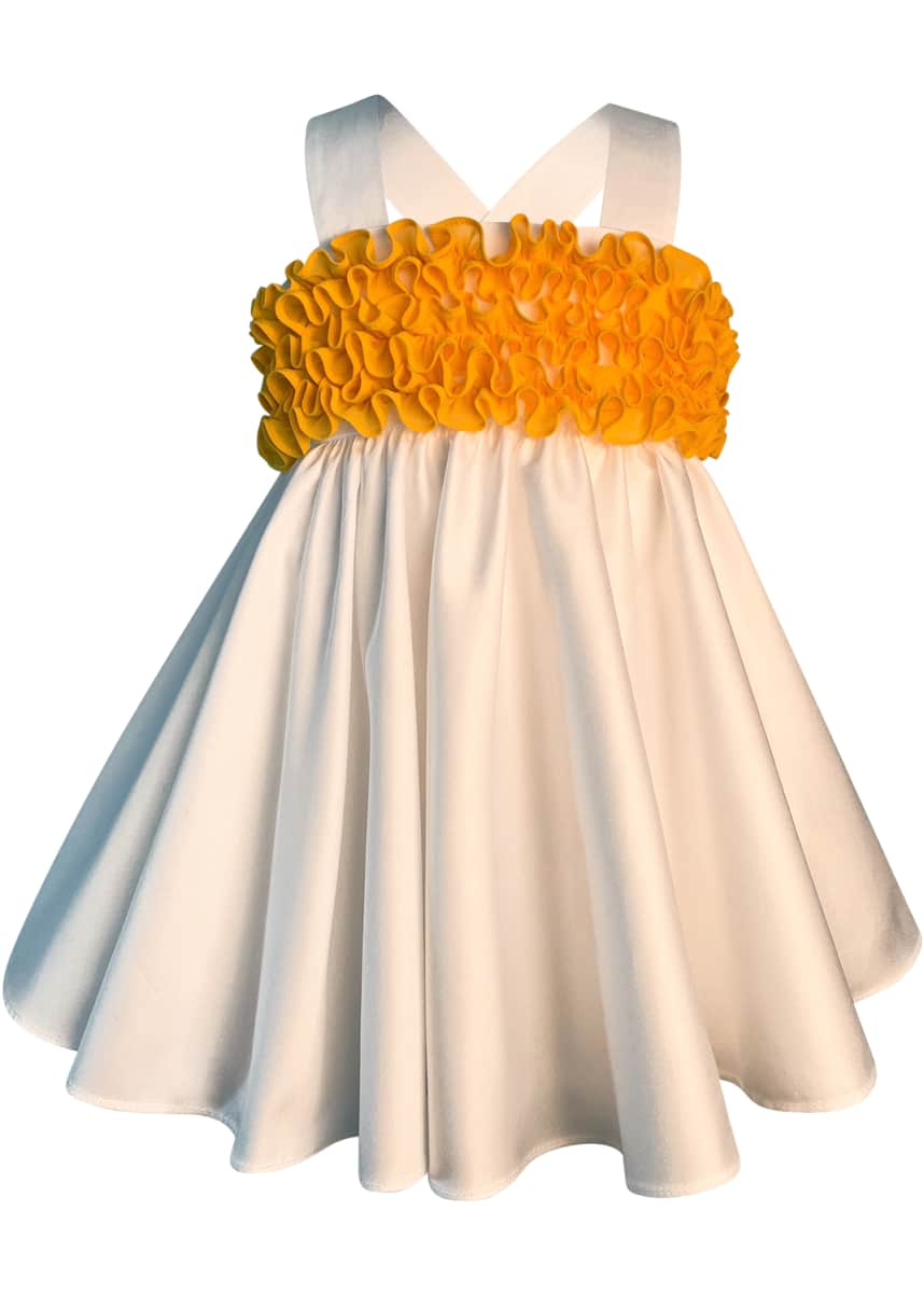 Helena Girl's Cotton Sateen Sun Dress w/ Bright Ruffles, Size 2-6