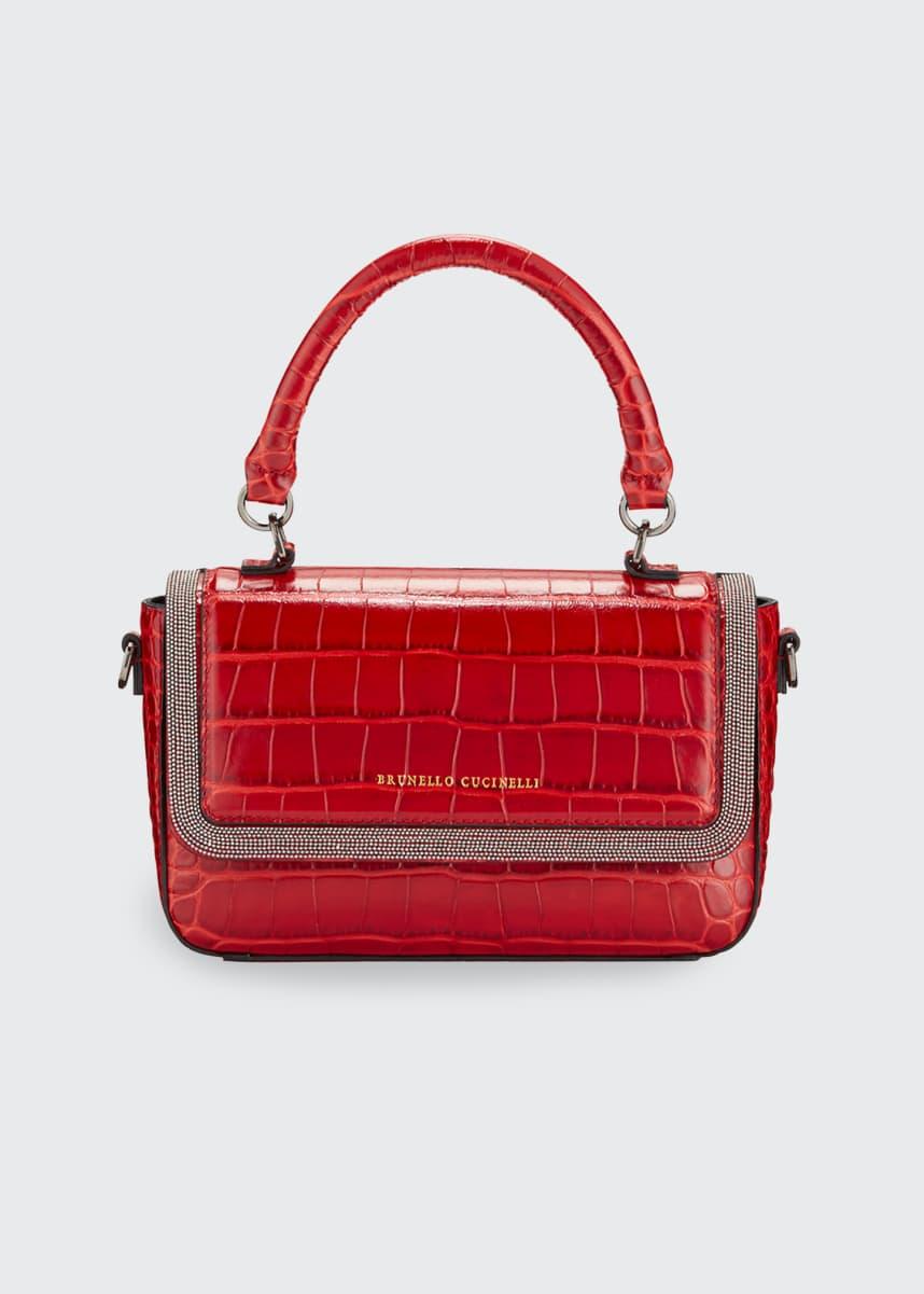 Brunello Cucinelli Mock-Croc Leather Top-Handle Bag