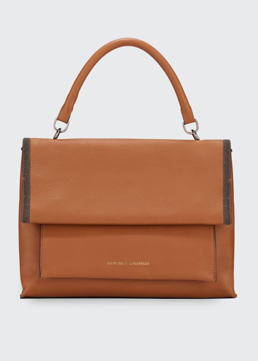 Brunello Cucinelli Smooth Leather Flap Closure Bag
