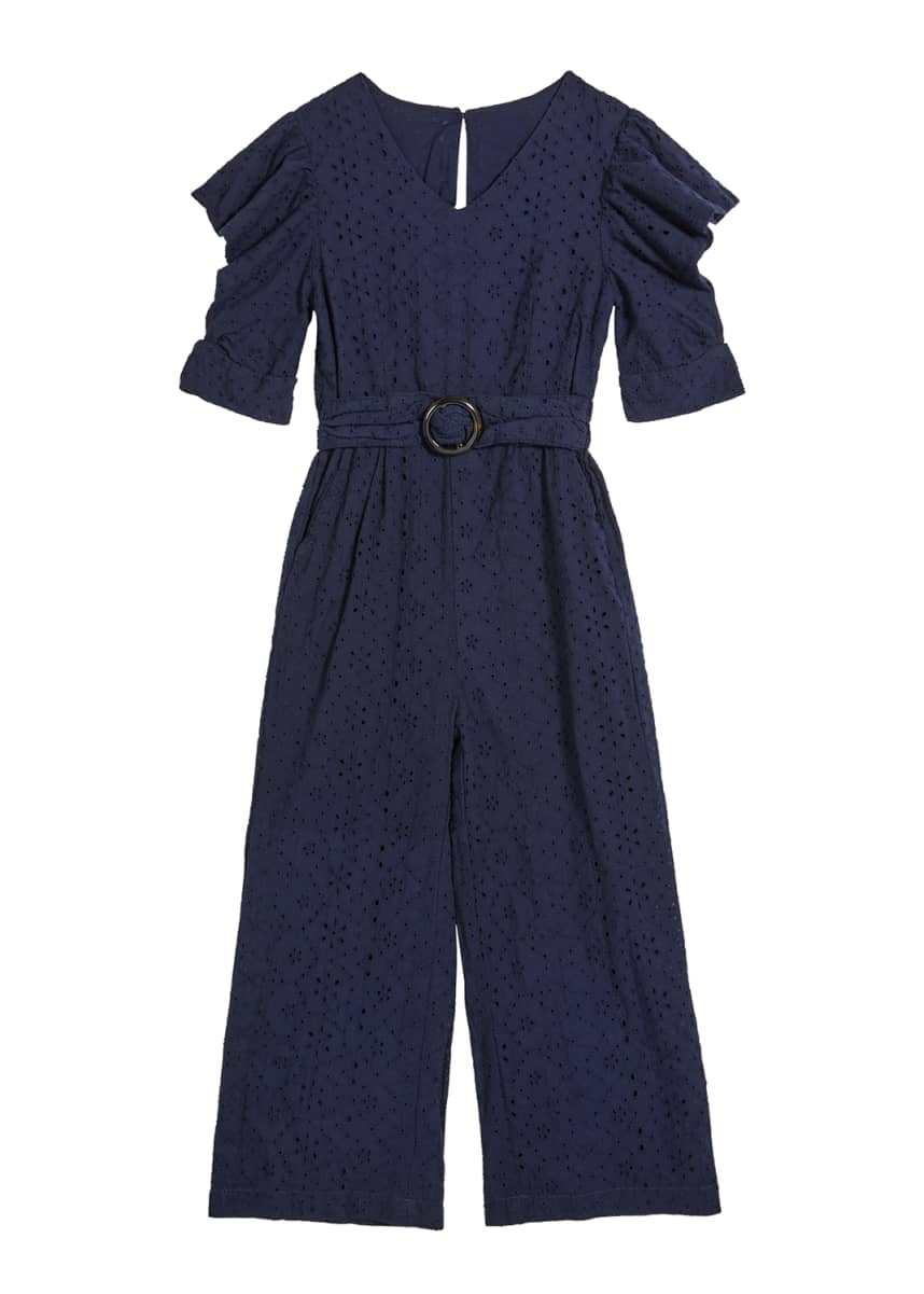 Habitual Girl's Cutout Sleeve Belted Eyelet Jumpsuit, Size 7-14