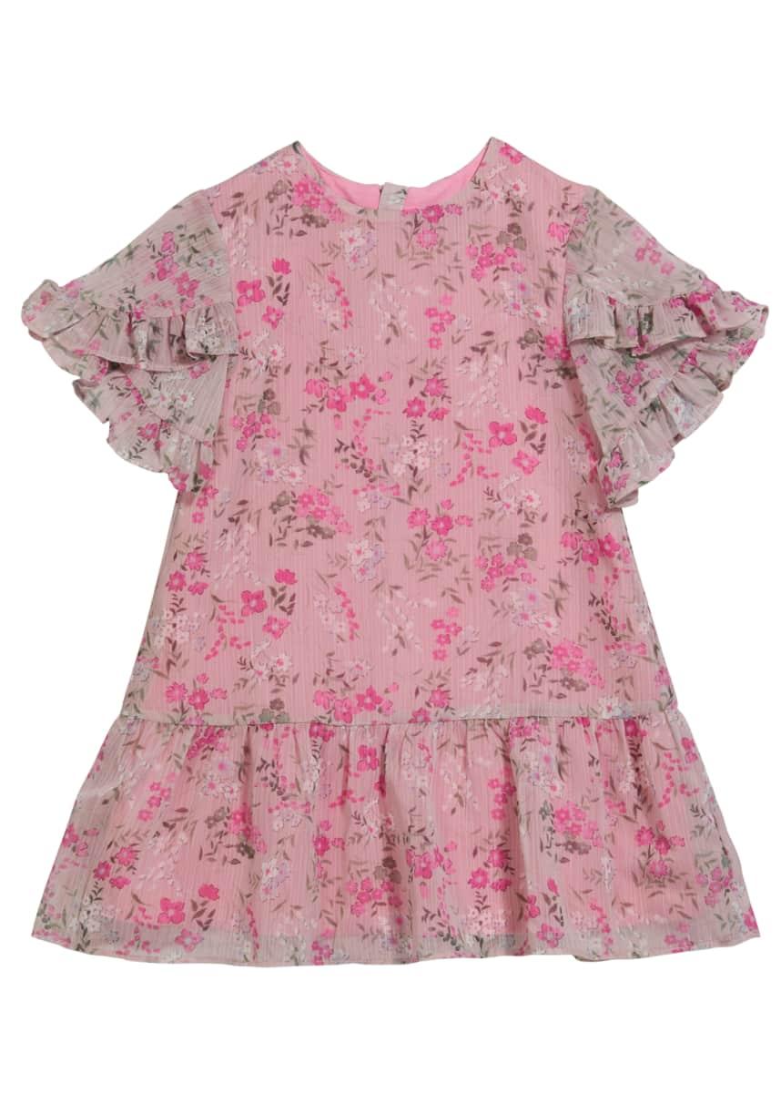 Imoga Girl's Rainer Floral-Print Ruffle Sleeve Dress, Size 2-6