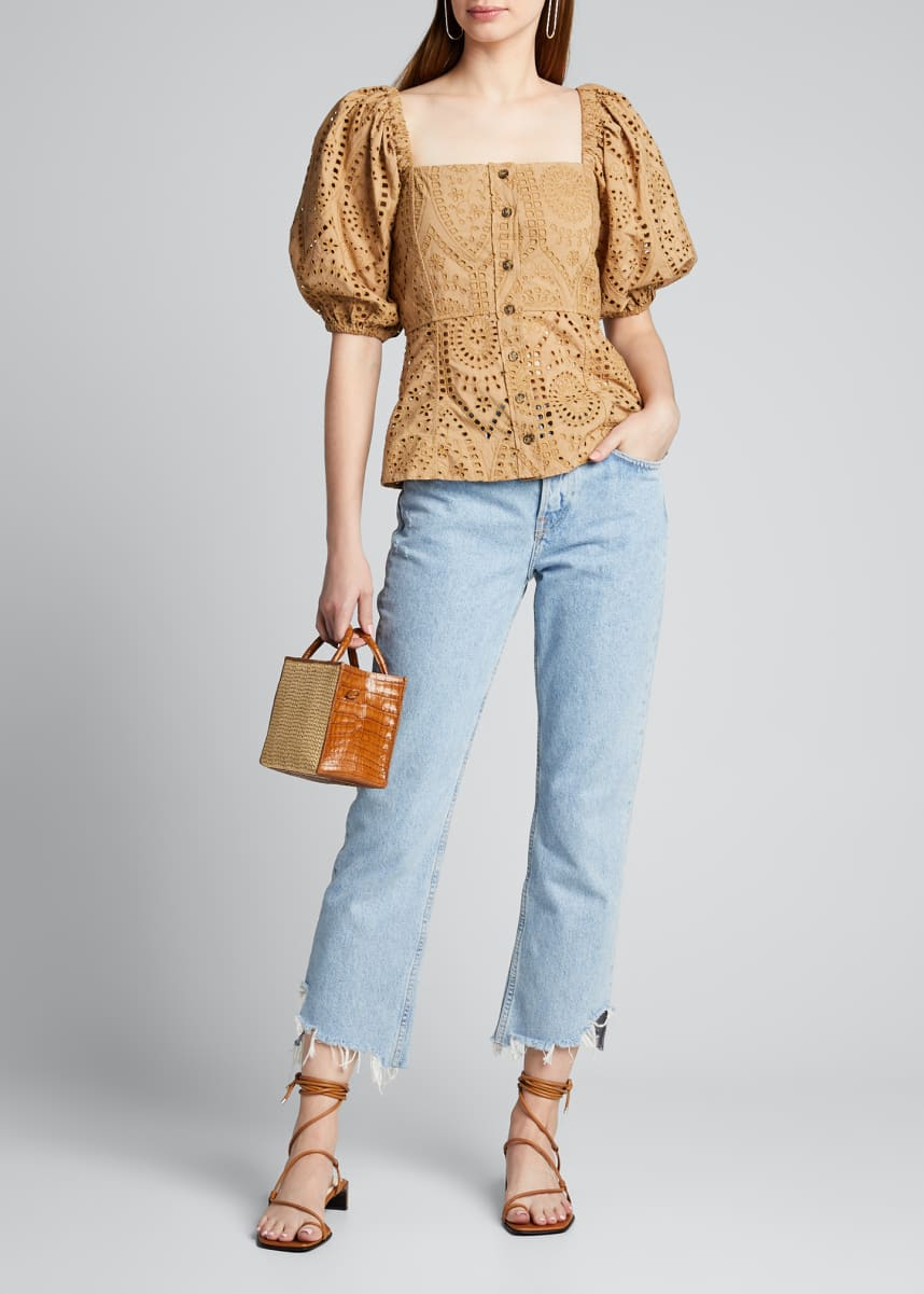 Ganni Broderie Anglaise Puff-Sleeve Button-Down Top