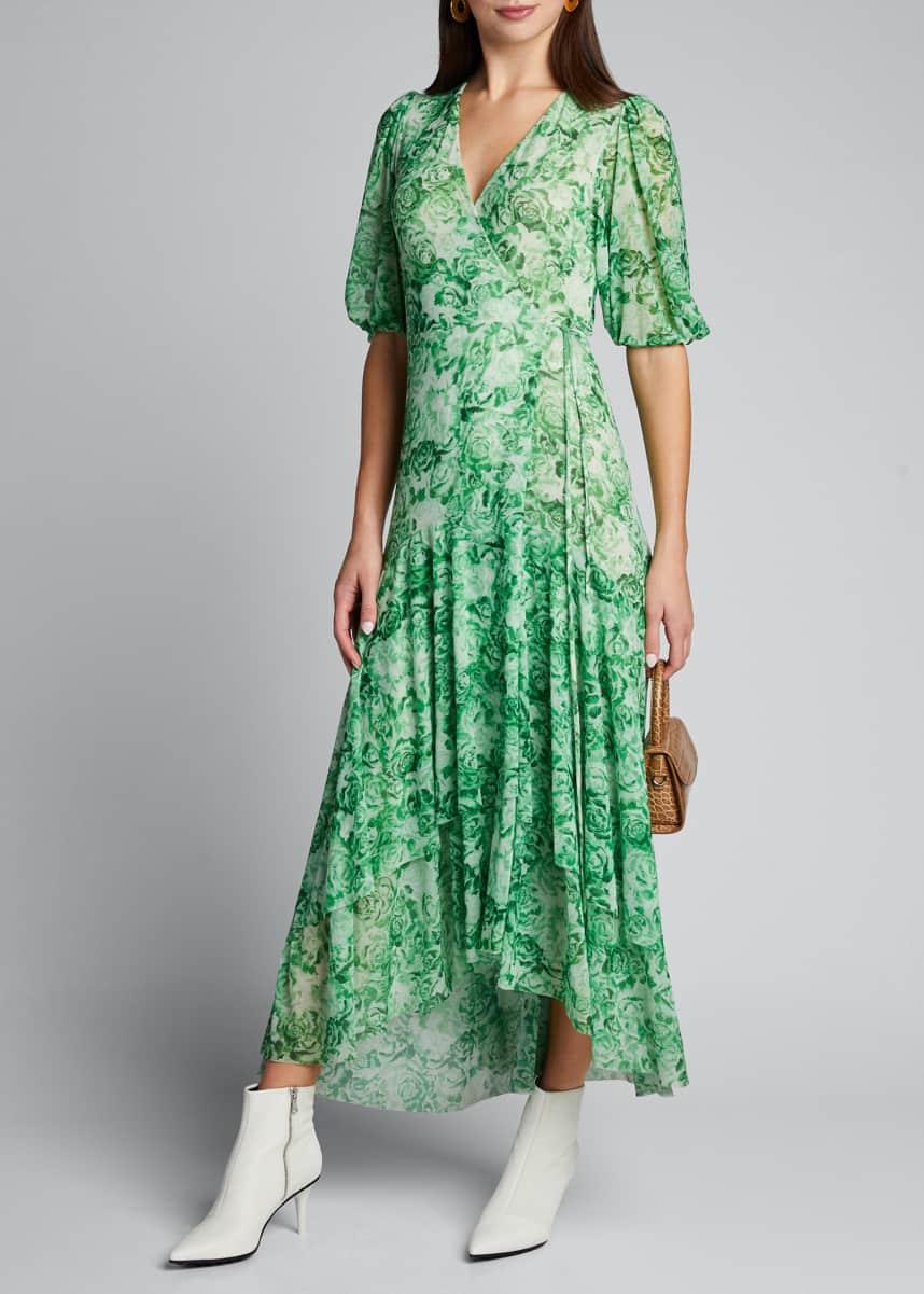 Ganni Printed Mesh Short-Sleeve Wrap Dress