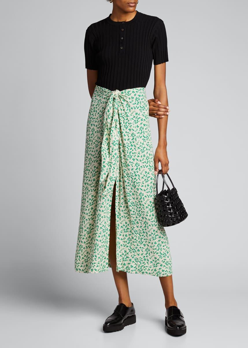 Ganni Printed Crepe Tie-Front Skirt