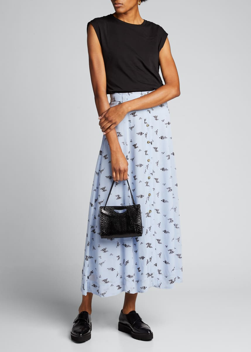 Ganni Printed Georgette Button-Front Midi Skirt