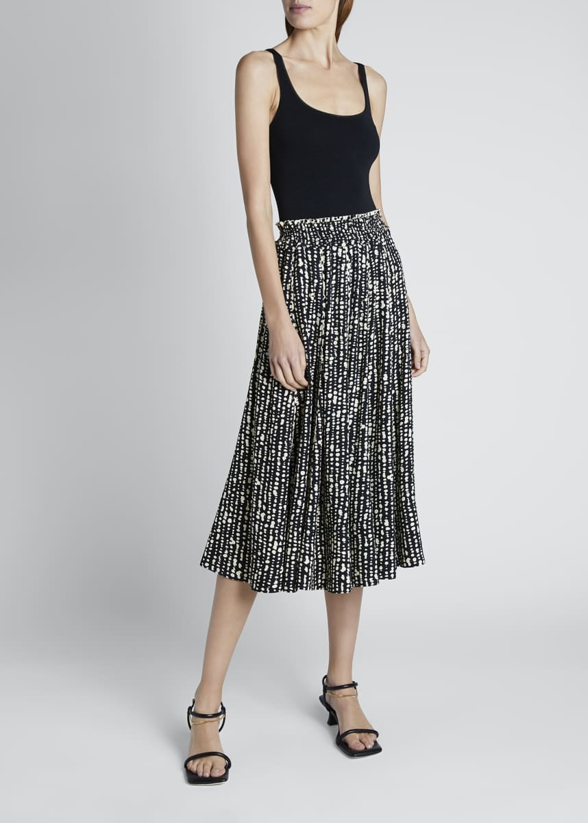 Proenza Schouler White Label Printed Georgette Pleated Midi Skirt