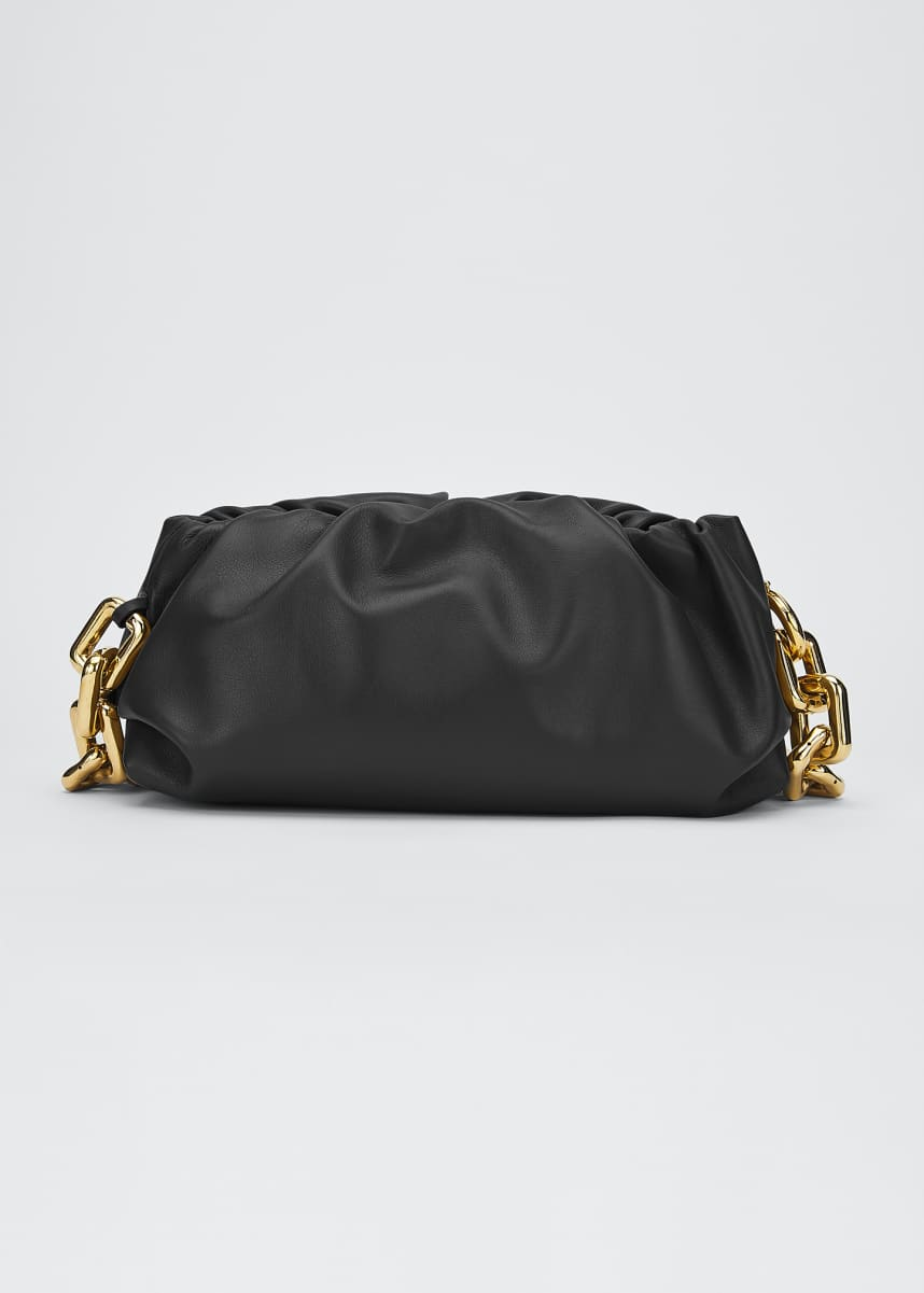 Bottega Veneta Medium Ruched Napa Chain Clutch Bag