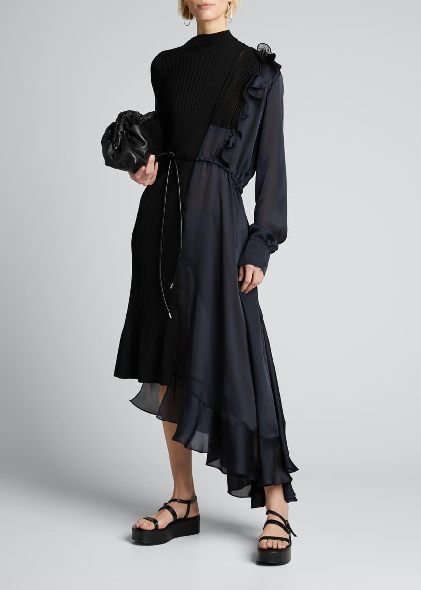 SACAI Knit Chiffon Combo Midi Dress