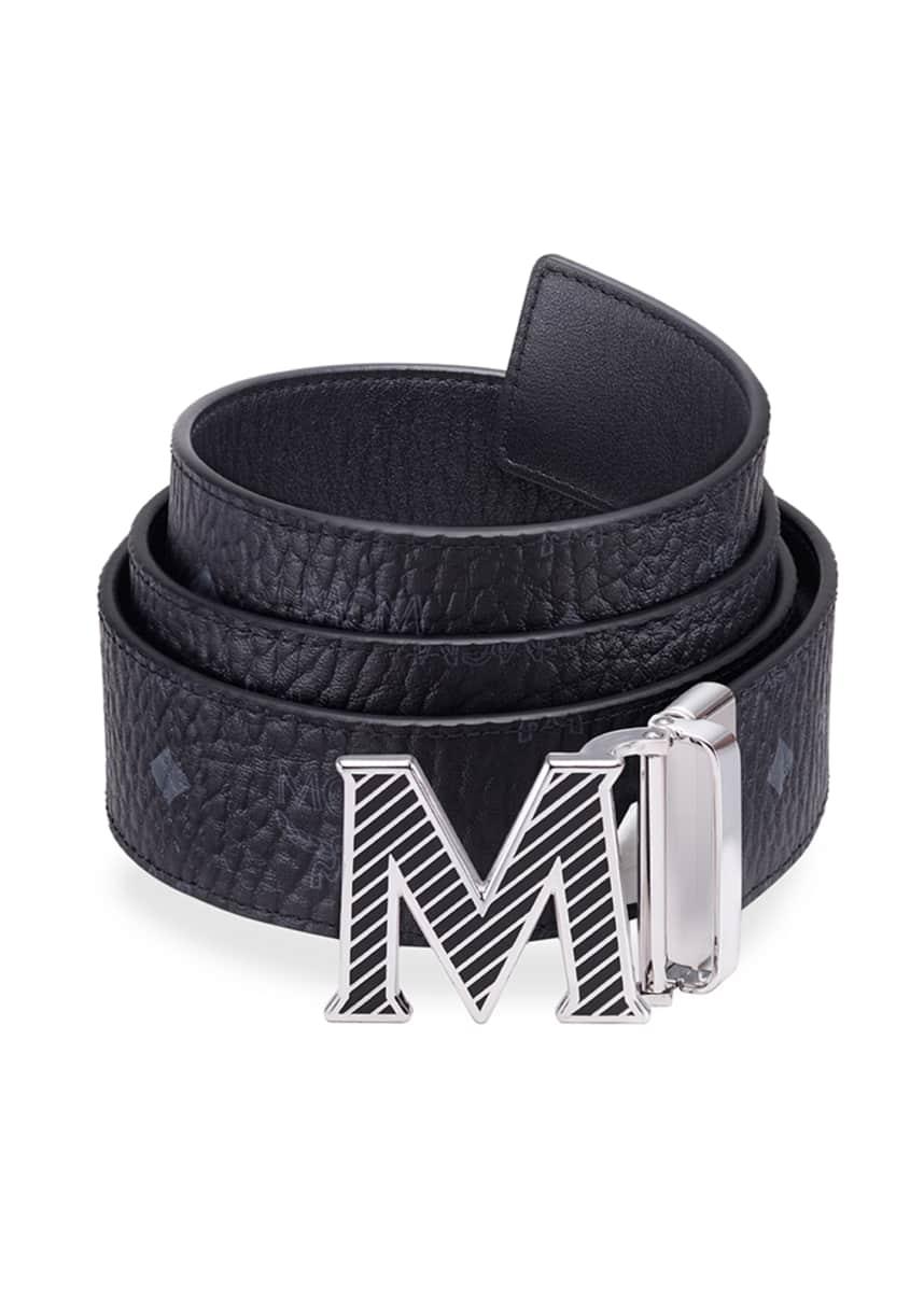 MCM Men's Claus Reversible Solid/Monogrammed Belt