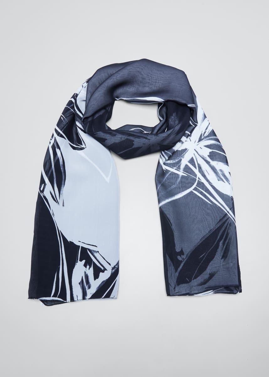 Eskandar Floral Print Silk Scarf