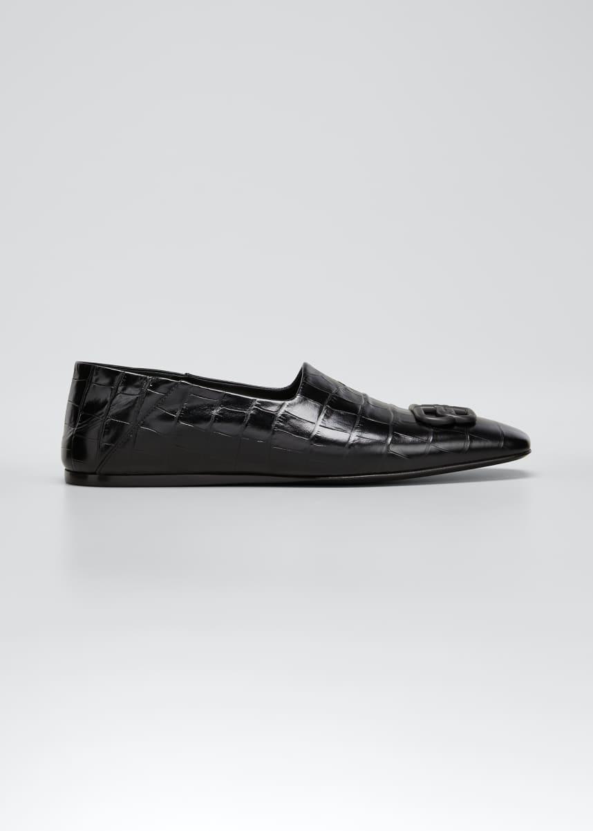 Balenciaga Men's Cosy BB Croc-Embossed Leather Slip-Ons
