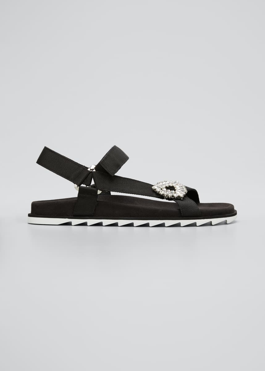 Roger Vivier Trekky Viv' Crystal Flat Sport Sandals