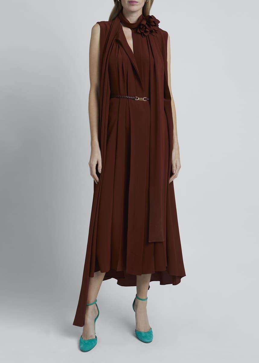Victoria Beckham Scarf-Neck Sleeveless Crepe De Chine Silk Dress