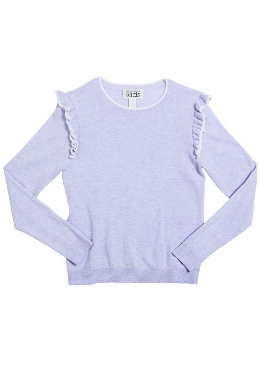 Autumn Cashmere Girl's Ruffle-Trim Crewneck Sweater, Size 8-16