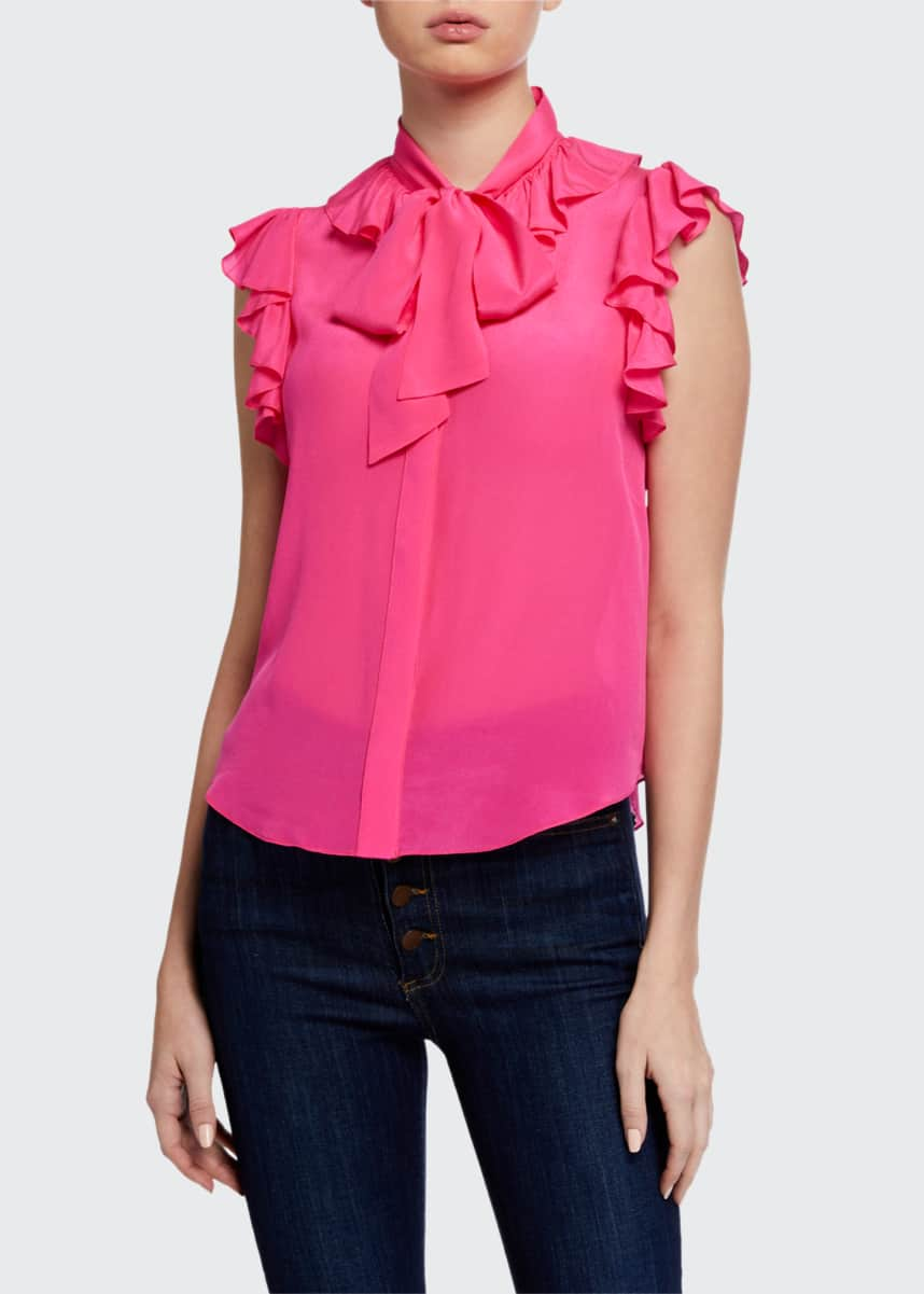 Alice + Olivia Robbie Bow-Collar Blouse w/ Ruffle