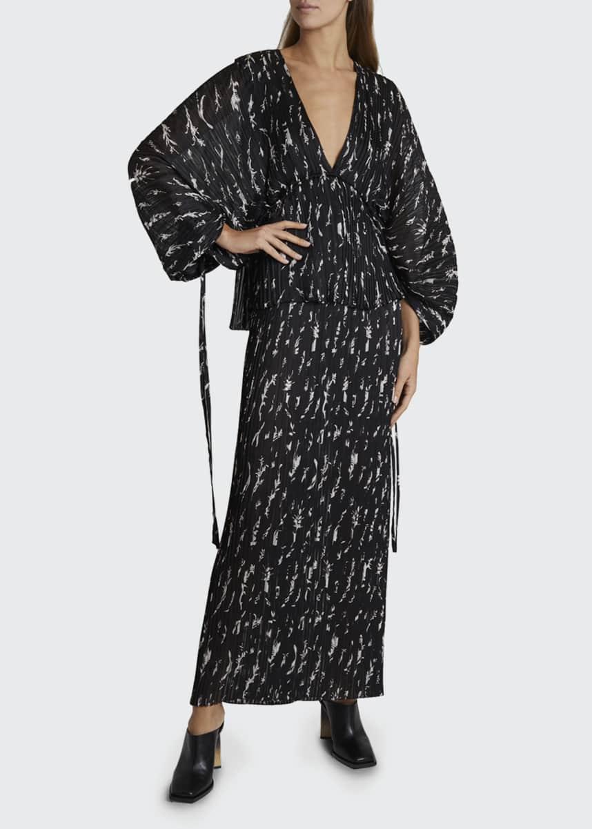 Givenchy Floral Print Pleated Raglan-Sleeve Dress