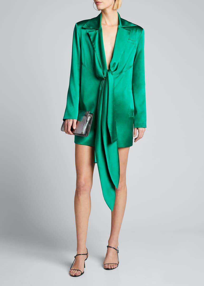 Materiel Silk Blazer Dress with Scarf