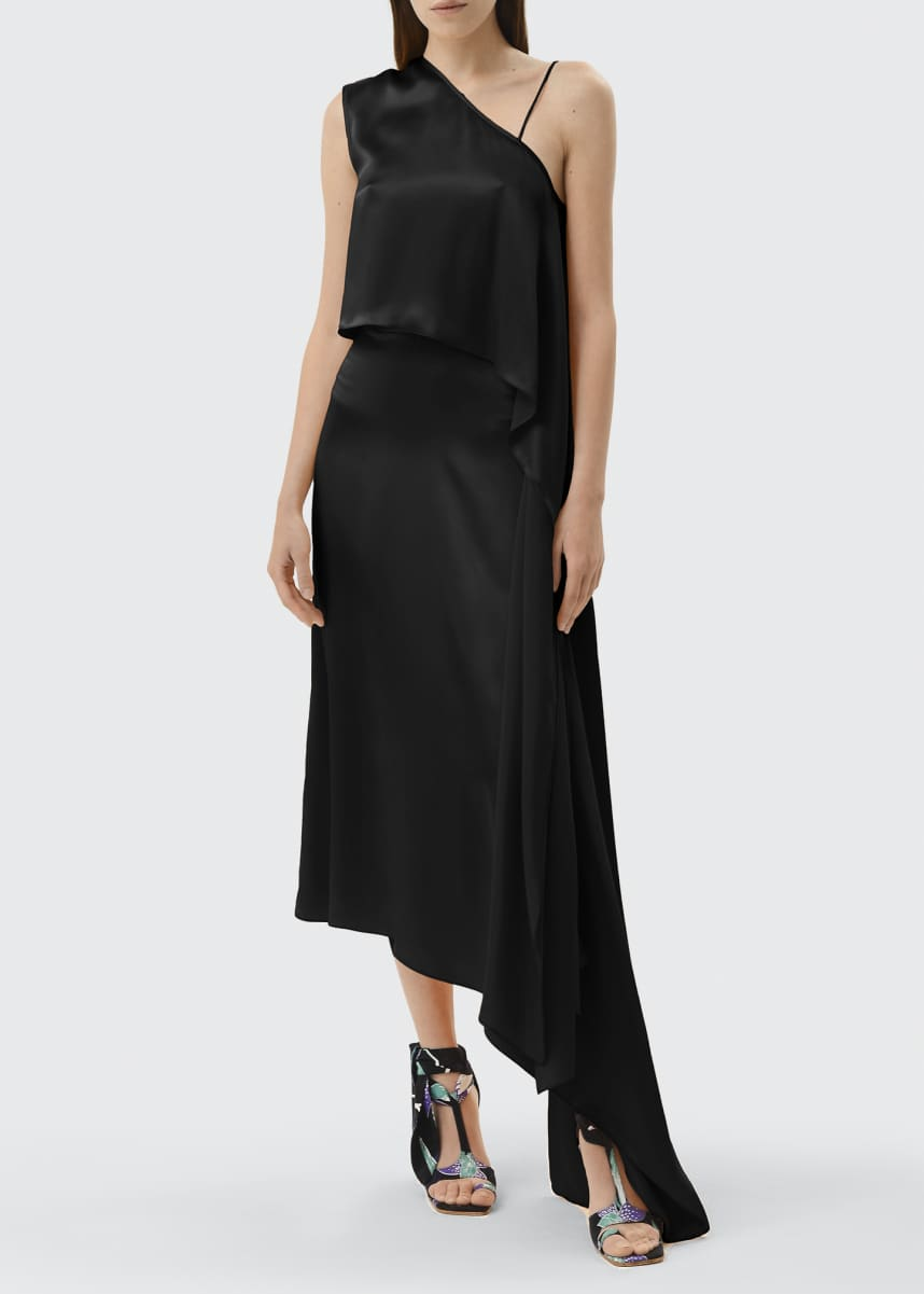 Materiel One-Shoulder Silk Cocktail Dress w/ Waist Tie