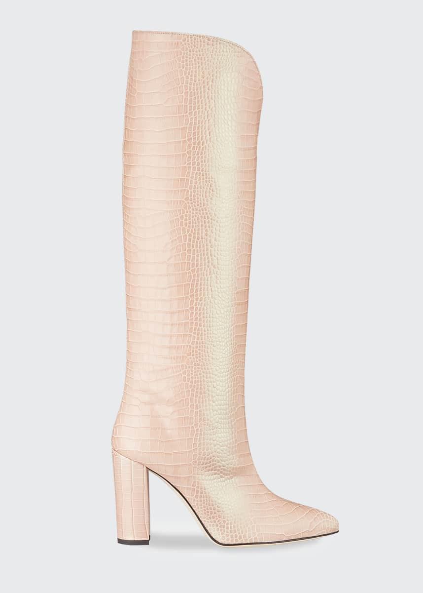 Paris Texas Iridescent Croco Heeled Knee Boots
