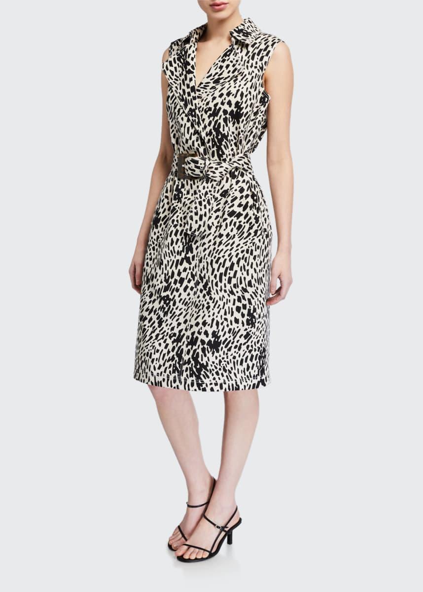 Lafayette 148 New York Florence Cheetah Print Sleeveless Twill Dress