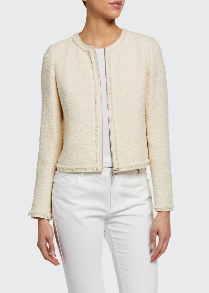 Lafayette 148 New York Charlie Portfolio Tweed Zip-Front Jacket