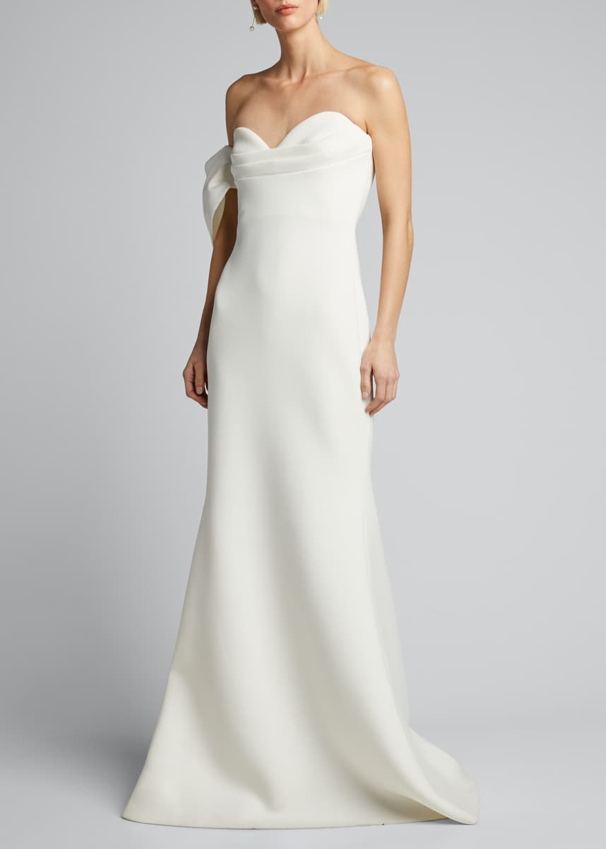 Badgley Mischka Collection Asymmetric Bow Strapless Scuba Gown