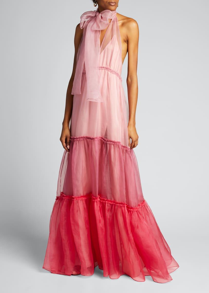 cinq a sept Veronique Tiered Organza Colorblock Gown
