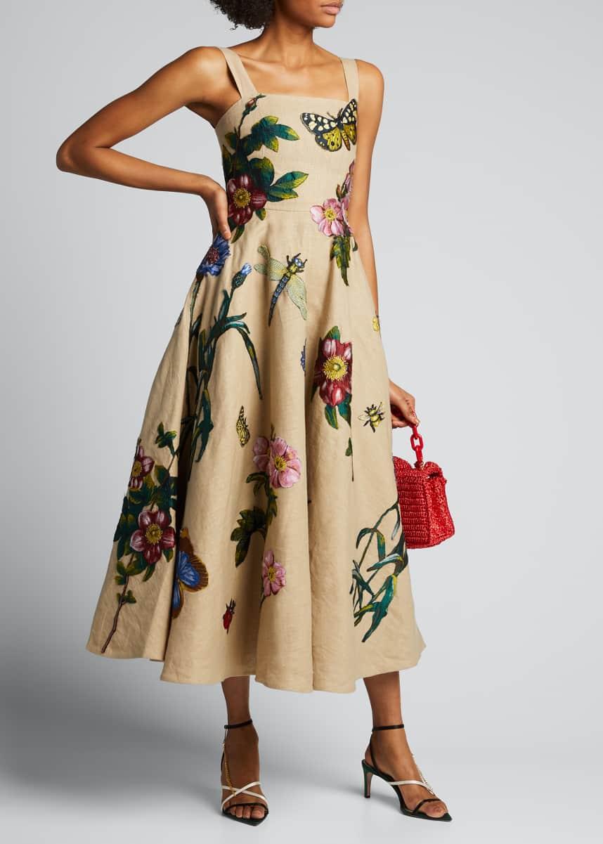 Oscar de la Renta Linen Midi Dress with Floral Applique