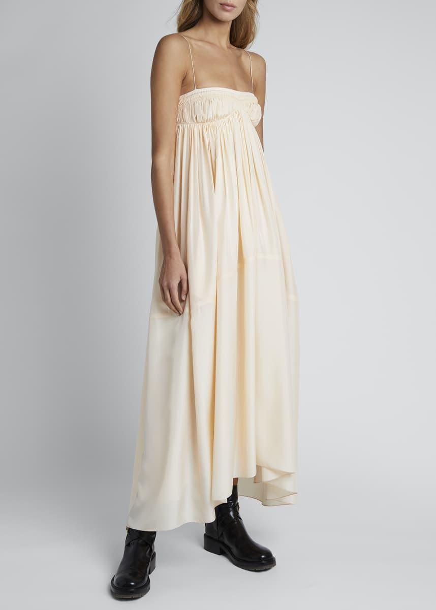 Chloe Silk Spaghetti-Strap Square-Neck Dress