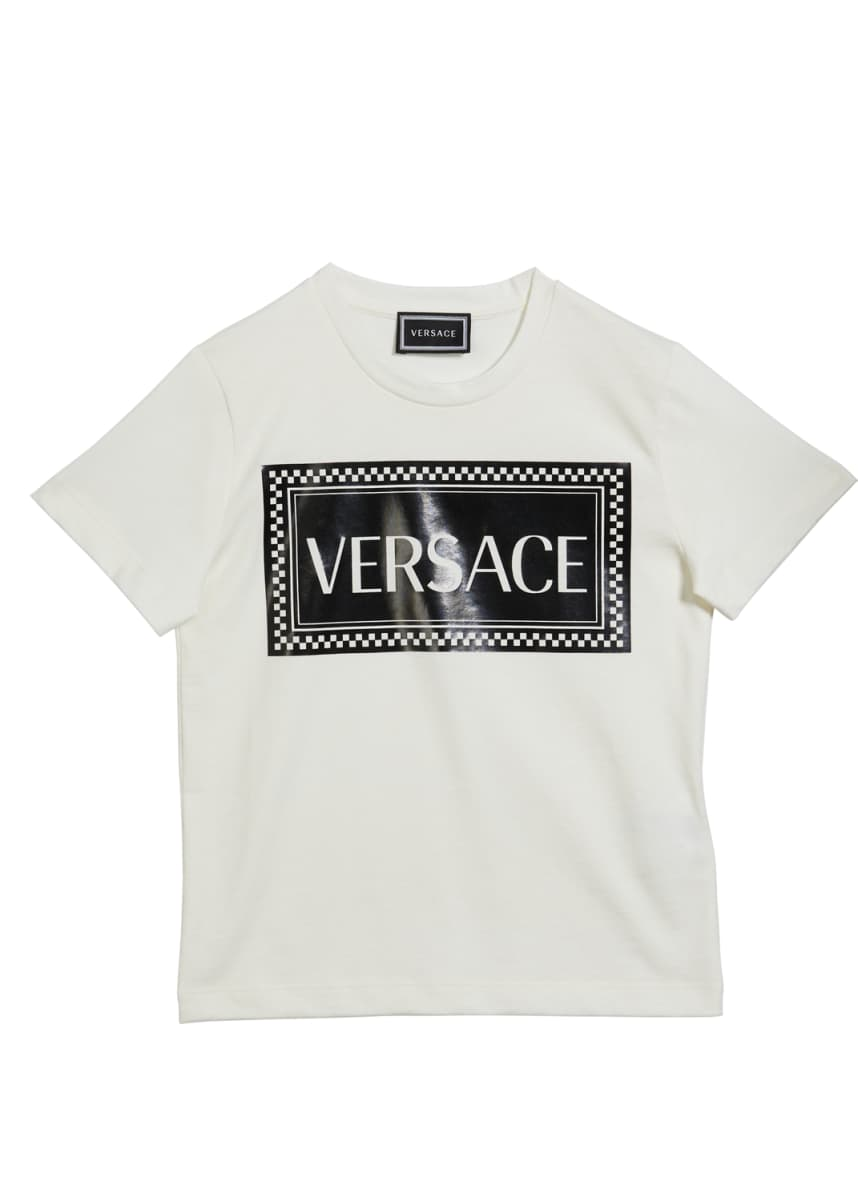 Versace Kid's Logo Block Short-Sleeve Tee, Size 4-6